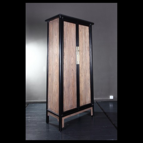 Tall tapered cabinet in raw elm