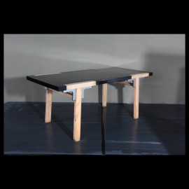 Black with stainless dining table