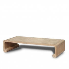 natural wood parquet top coffee table