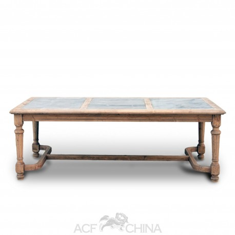Reclaimed pinewood dining table with stone inlay top