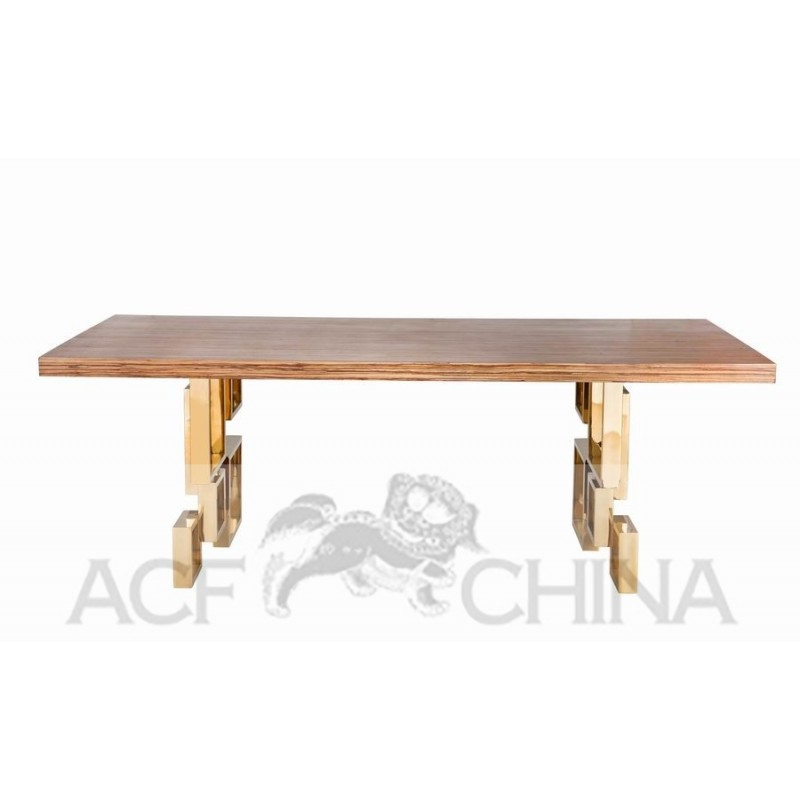 Kitchen Dining Tables Stainless Steel Dining Table With Wood Top