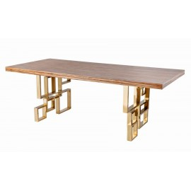 Stainless steel dining table with wood top