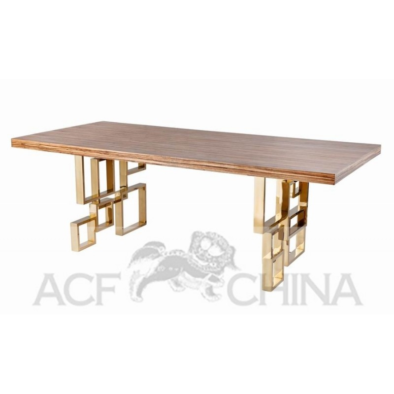 Stainless Steel Dining Table With Wood Top ...