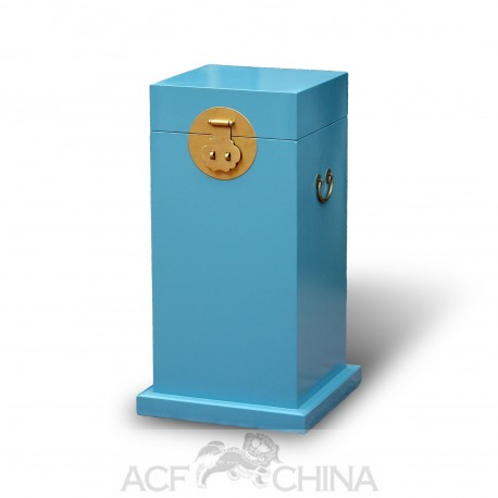 Tall Chinese style wooden trunks with round hardware