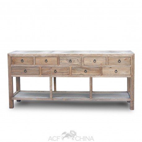 9 Drawer raised sideboard with parquet or stone inlay top