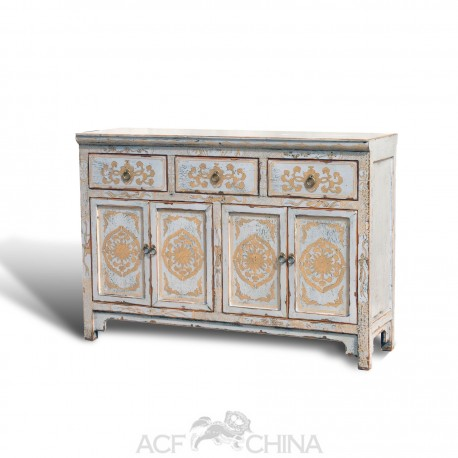 """Touch of exotic"" painted buffet sideboard"