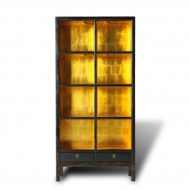 Black lacquer and gold leaf bookcase