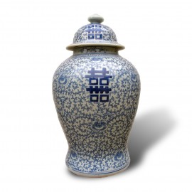 Chinese cobalt blue and white porcelain double happiness jars with lids