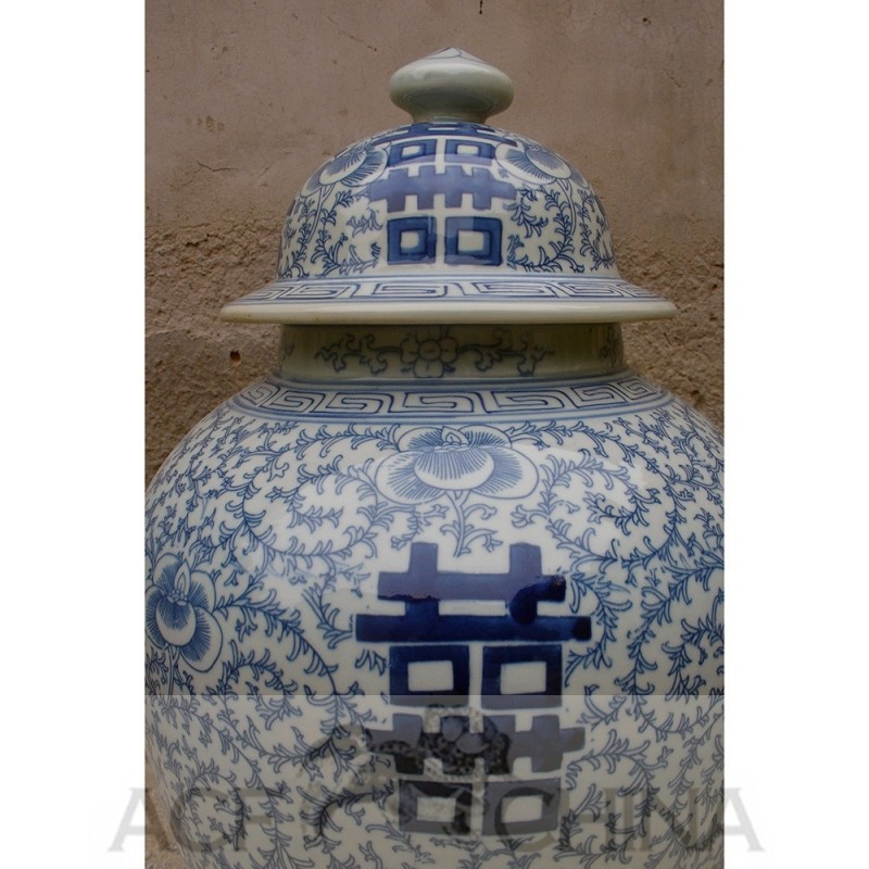 A Pair Of Chinese Blue And White Double Happiness Jars