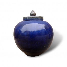 Round cobalt blue jars with lids