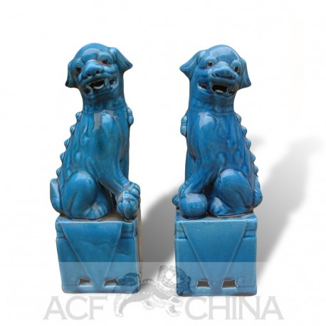 Turquoise glazed porcelain foo dog temple guardians