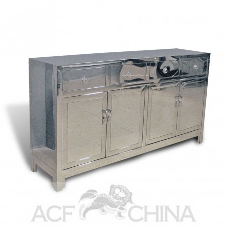Contemporary asian stainless steel buffet in chrome