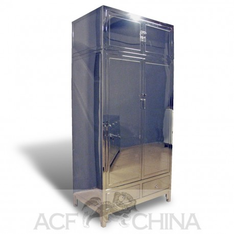 Contemporary asian stainless steel armoire
