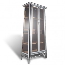 Contemporary asian stainless steel chrome and glass tapered cabinet