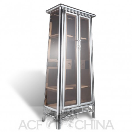 Contemporary asian stainless steel chrome and glass cabinet