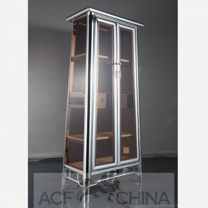 Contemporary Asian Stainless Steel And Glass Cabinet In Chrome