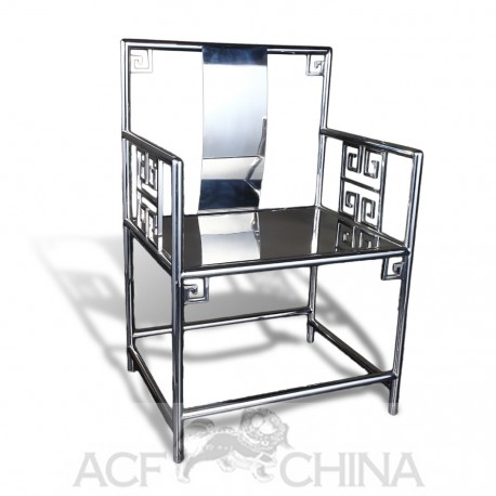 Contemporary asian stainless steel chrome armchair