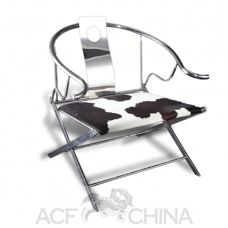 Contemporary asian ming style stainless steel chrome armchair
