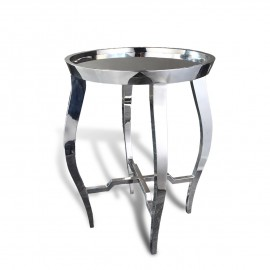 Round contemporary asian end table in stainless steel chrome