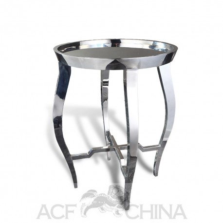 Contemporary asian end table in stainless steel chrome