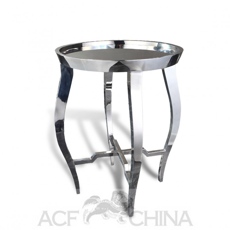 Contemporary Asian Accent Table In Stainless Steel Chrome