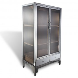 Asian contemporary stainless steel chrome and glass square cabinet