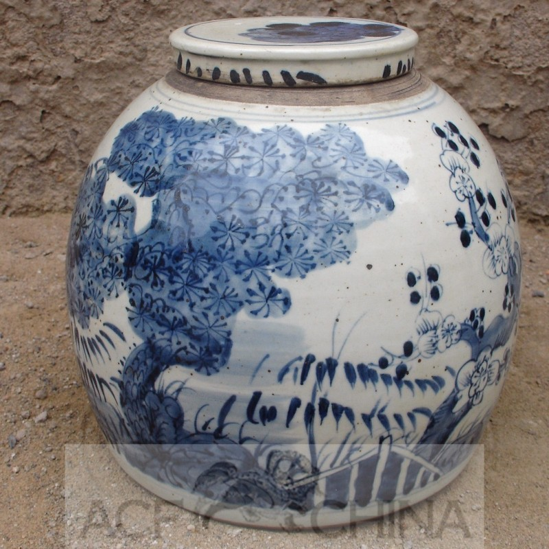 Medium Sized Ginger Jar With Blue And White Underglaze