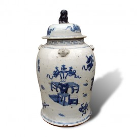 Medium size Chinese blue and white porcelain baluster jars with lids