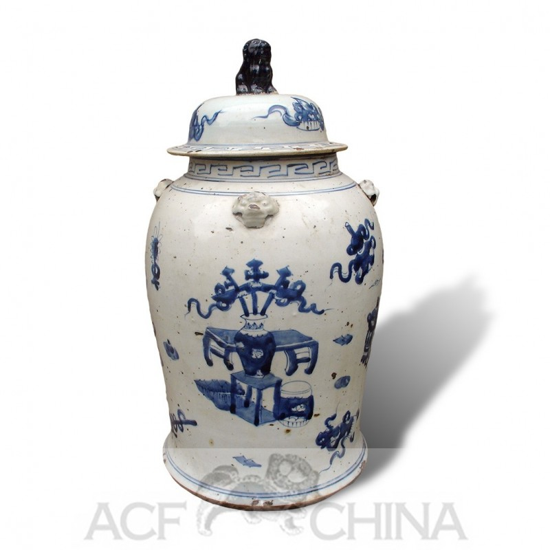 Medium Size Chinese Blue And White Porcelain Baluster Jars