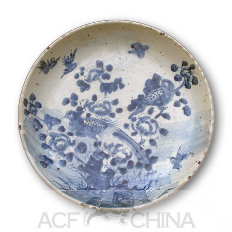 Large Size Chinese Blue And White Round Porcelain Plate