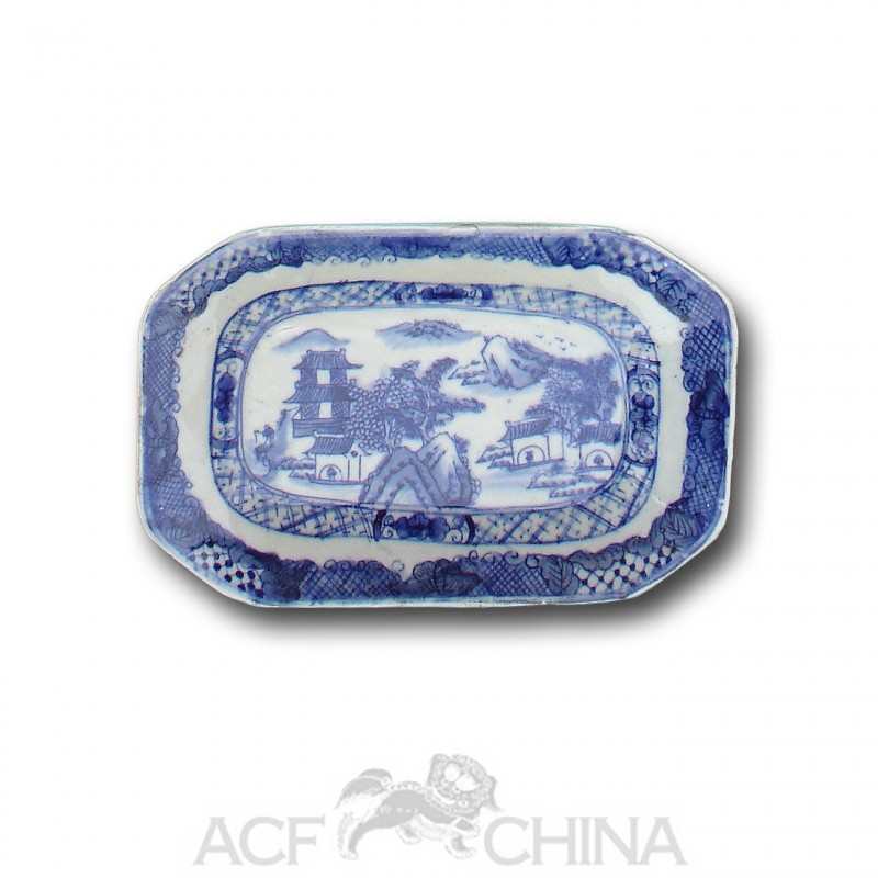 Small Qianlong Style Chinese Blue And White Octagonal