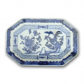 Medium sized qianlong style Chinese blue and white octagonal porcelain platter