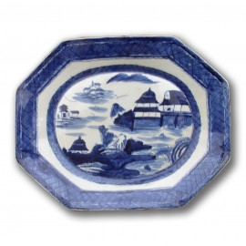 Large sized canton export style Chinese blue and white octagonal porcelain platter