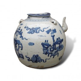 Large size Chinese blue and white round porcelain teapot with handles