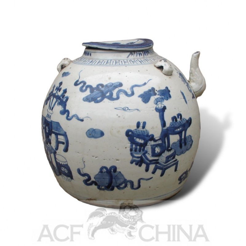 Large Size Chinese Blue And White Round Porcelain Teapot