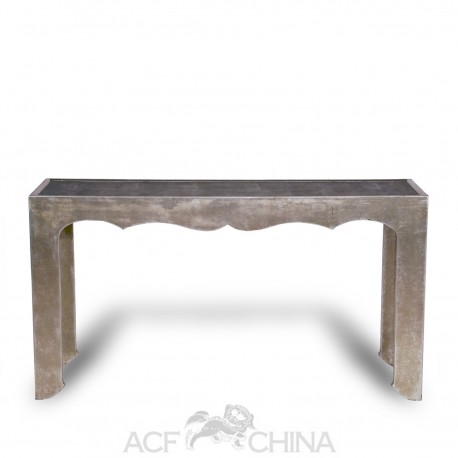 Silver leaf and shagreen narrow console table