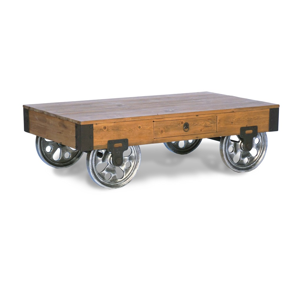 Industrial Factory Cart Coffee Table Industrial Modern Warehouse Cart Coffee Table